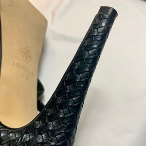 Isola Shoes - Isola 5 in platform black heels leather cutout 7.5
